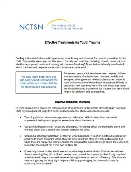 Effective Treatments for Youth Trauma