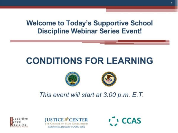 Conditions for Learning - Supportive School Discipline (SSD) Webinar Series