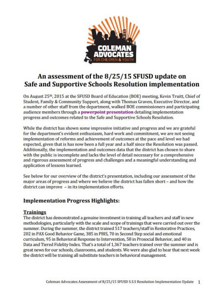 An assessment of the 8/25/15 SFUSD update on Safe and Supportive Schools Resolution implementation