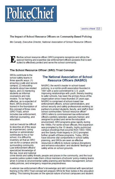 The Impact of School Resource Officers on Community-Based Policing
