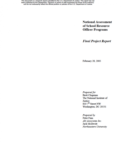 National Assessment of School Resource Officer Programs Final Project Report