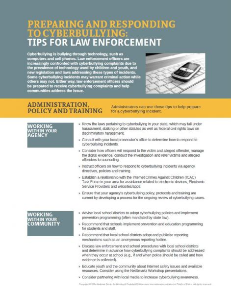 Preparing and Responding to Cyberbullying: Tips for Law Enforcement