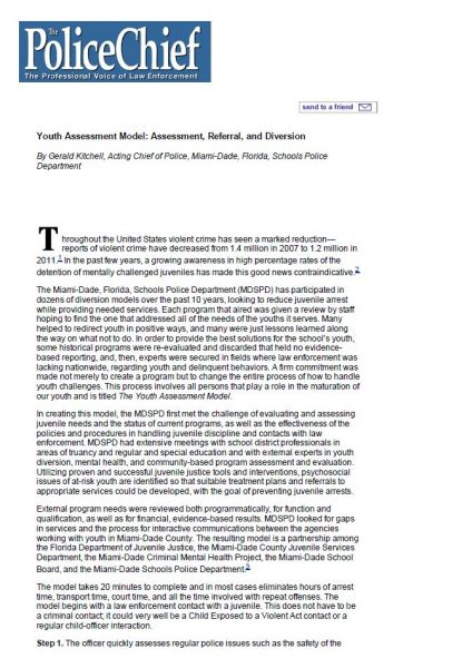 Youth Assessment Model: Assessment, Referral, and Diversion